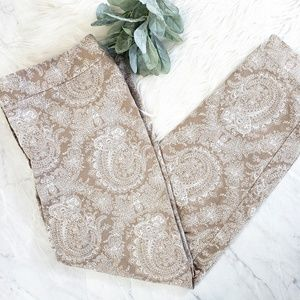 Talbots Heritage Tan Floral Paisley Cropped Pants